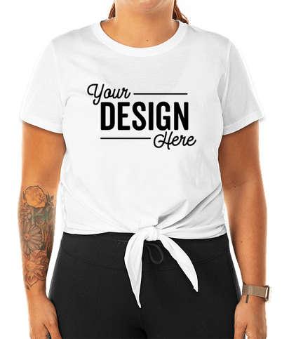 Women's 100% Cotton Tie Front T-shirt - White
