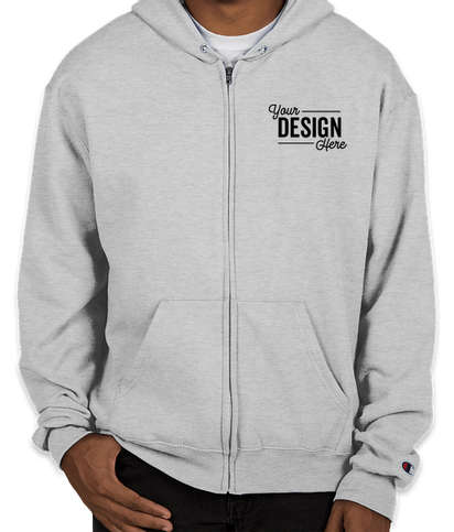 Embroidered Champion Double Dry Eco Zip Hoodie - Silver Grey