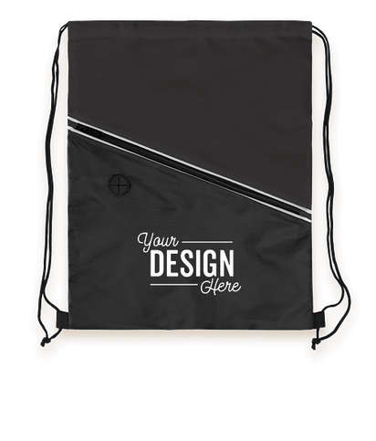 Contrast Zipper Drawstring Bag - Black