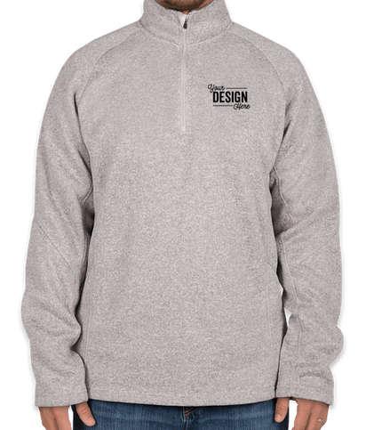 Devon & Jones Quarter Zip Sweater Fleece Pullover - Grey Heather