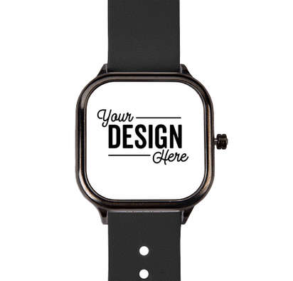 Gunmetal Watch with Vegan Leather Band - White Face / Black Band