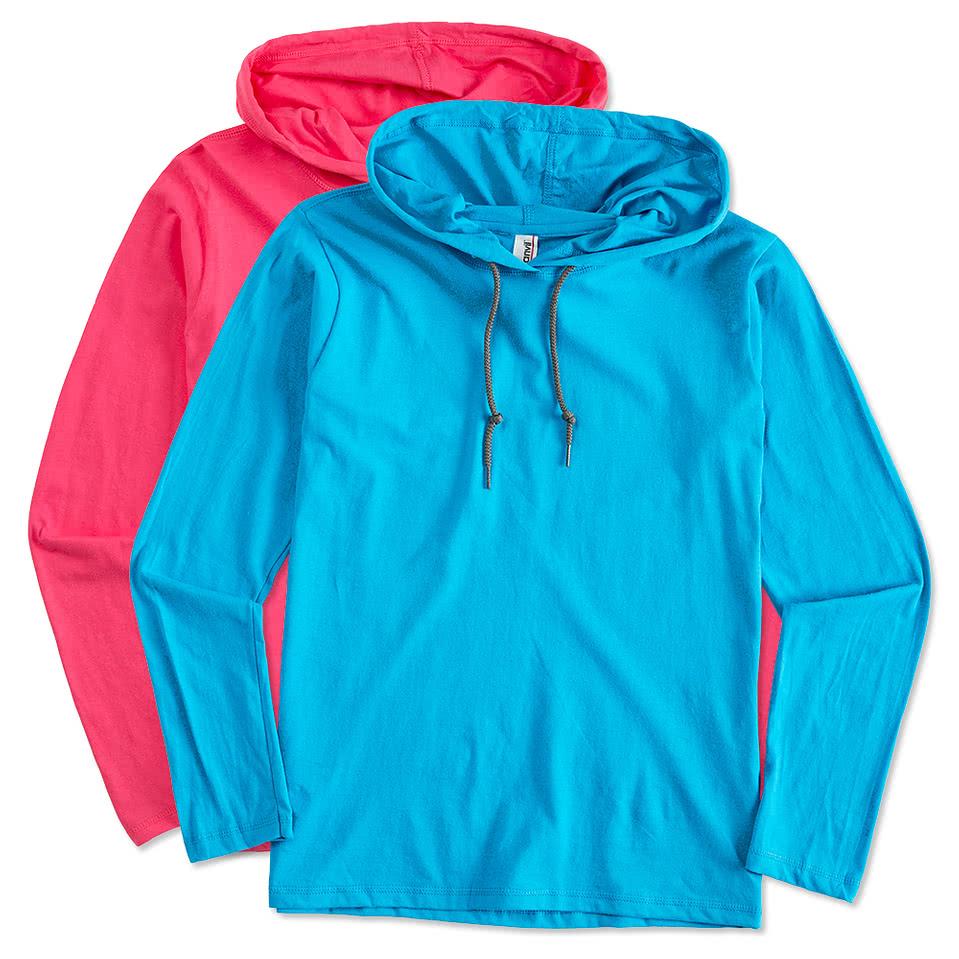Custom anvil ladies hooded long sleeve t shirt design for Ladies custom t shirts