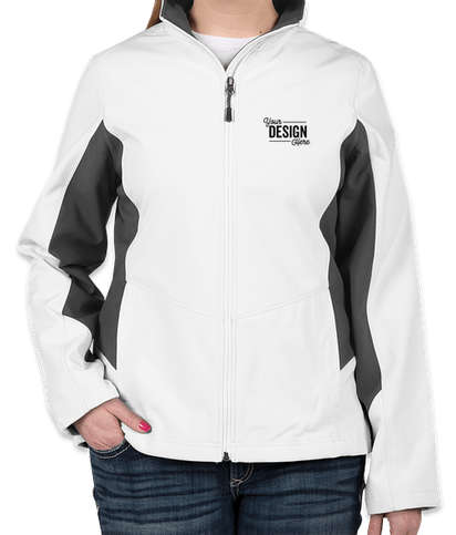 Port Authority Women's Colorblock Soft Shell Jacket - Marshmallow / Battleship Grey