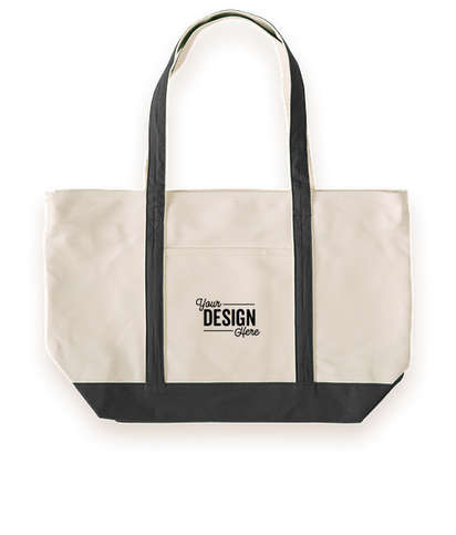 Large Heavyweight Cotton Zippered Boat Tote Bag - Black