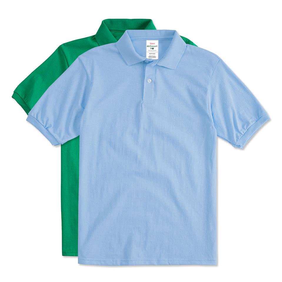 Custom hanes 50 50 jersey polo design screen printed for Design polo shirts online