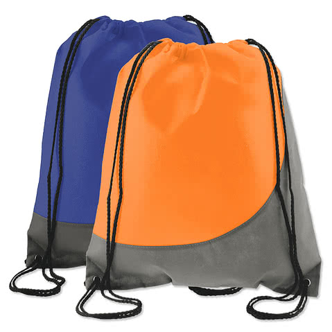 Promotional Non-Woven Colorblock Drawstring Bag