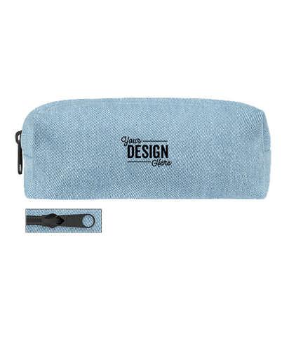 Small Denim Pencil Case - French Wash Denim / Black