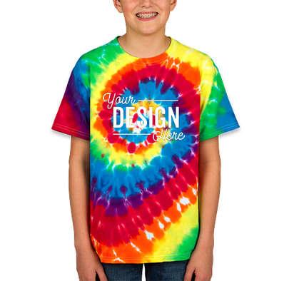 Dyenomite Youth 100% Cotton Rainbow Tie-Dye T-shirt - Michelangelo