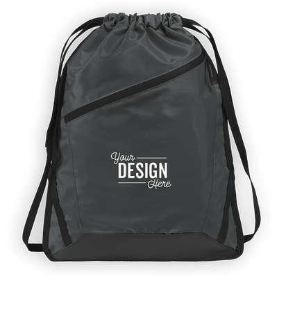 Port Authority Adjustable Strap Contrast Zipper Drawstring Bag - Graphite Grey / Black