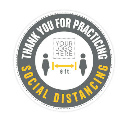 """Thank You For Social Distancing 12"""" Circle Floor Decal - White"""