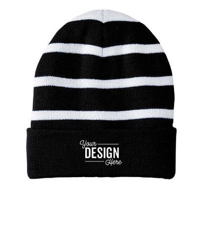 Sport-Tek Fleece Lined Striped Cuff Beanie - Black / White