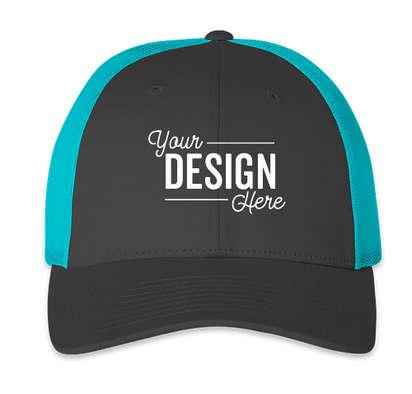 Richardson Stretch Fit Trucker Hat - Charcoal / Neon Blue