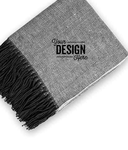 Herringbone Throw Blanket - Black