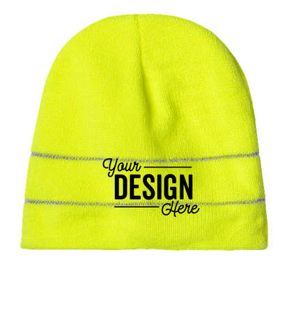 Bayside USA-Made Reflective Safety Beanie - Safety Green / Reflective