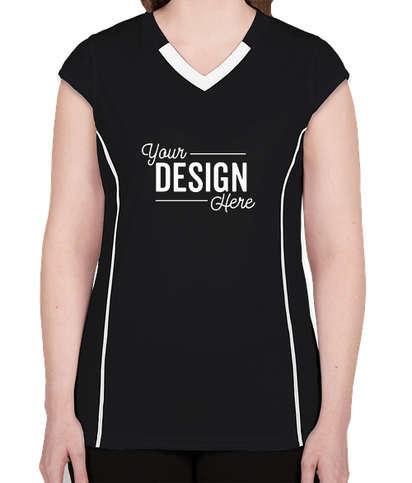 Augusta Women's Contrast V-Neck Volleyball Jersey - Black / White