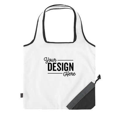 Contrast Foldaway Shopper Tote Bag - White / Black