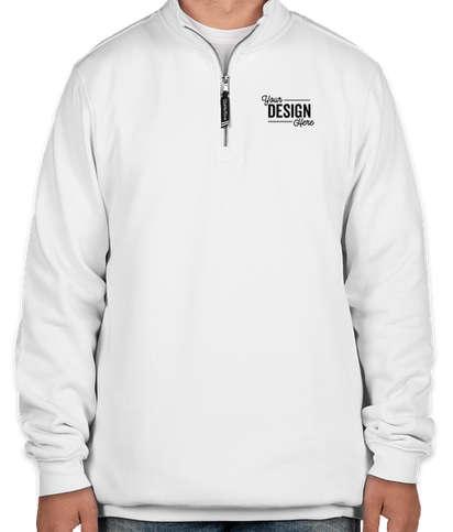 Charles River Crosswind Quarter Zip Sweatshirt - Embroidered - White