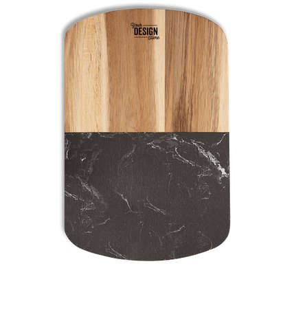 Laser Engraved Black Marble Cheese Board Set with Knives - Natural