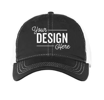 Pacific Headwear Vintage Snapback Trucker Hat - Black / White / Black