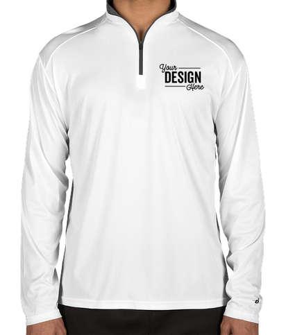 Badger Contrast Quarter Zip Performance Shirt - White / Graphite