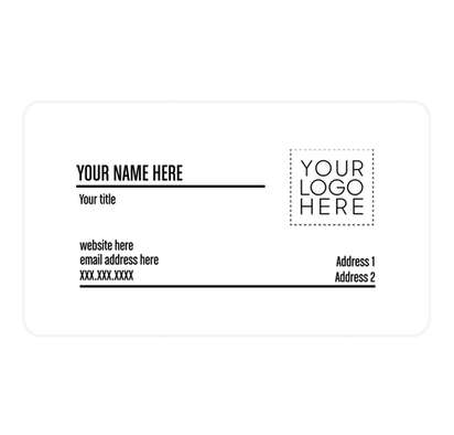 """2"""" x 3.5"""" Horizontal Rounded Corner Business Cards - 14pt. Cardstock - White Glossy"""