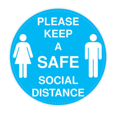 """Social Distance 12"""" Circle Floor Decal - Columbia Blue / White"""