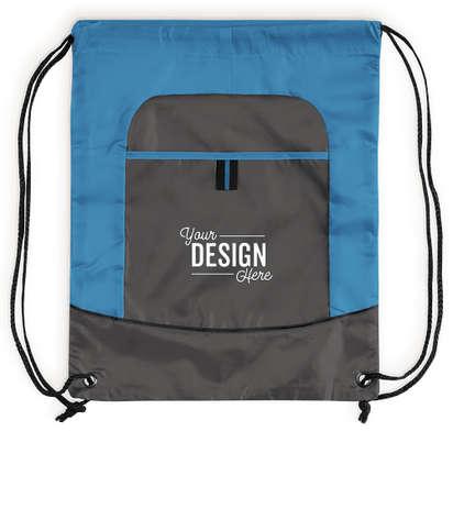 Port Authority Pocket Drawstring Bag - Brilliant Blue / Deep Smoke
