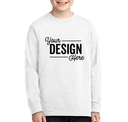 Port & Company Youth Core Cotton Long Sleeve T-shirt - White