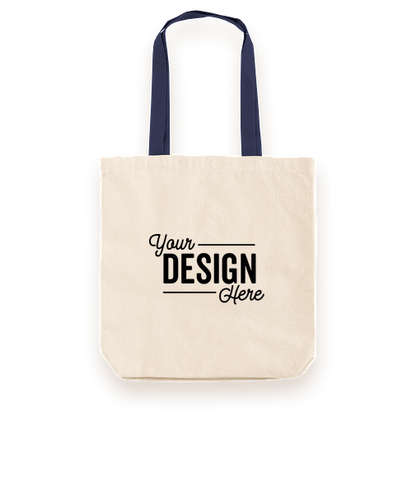 Midweight Contrast Handles Cotton Canvas Tote Bag - Natural / Navy