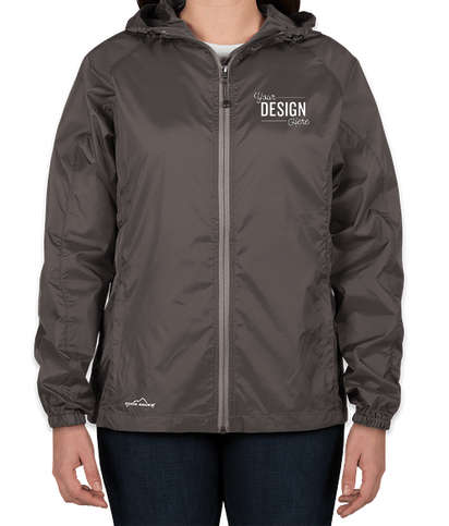 Eddie Bauer Women's Full Zip Hooded Packable Jacket - Grey Steel