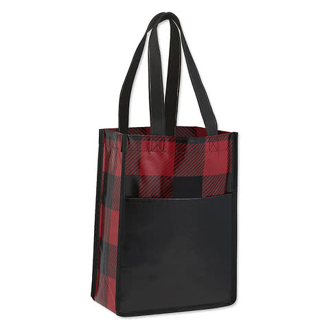 Mini Buffalo Plaid Non-Woven Gift Tote