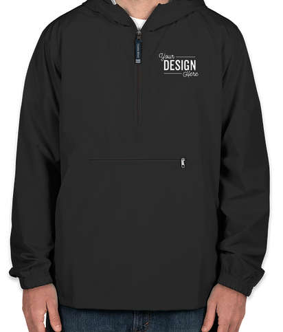 Charles River Pack-N-Go Hooded Packable Anorak - Embroidered - Black