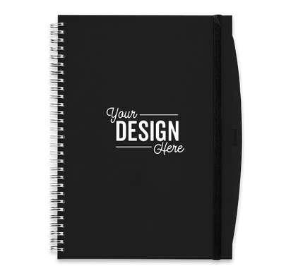 JournalBooks ® Debossed Large Hard Cover Spiral Notebook - Black