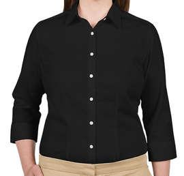 Van Heusen Women's 3/4 Sleeve Baby Twill Dress Shirt