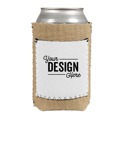 Full Color Burlap Can Cooler with Neoprene Pocket - White
