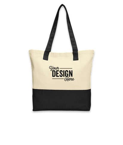 Port Authority Medium Colorblock Cotton Tote Bag - Natural / Black