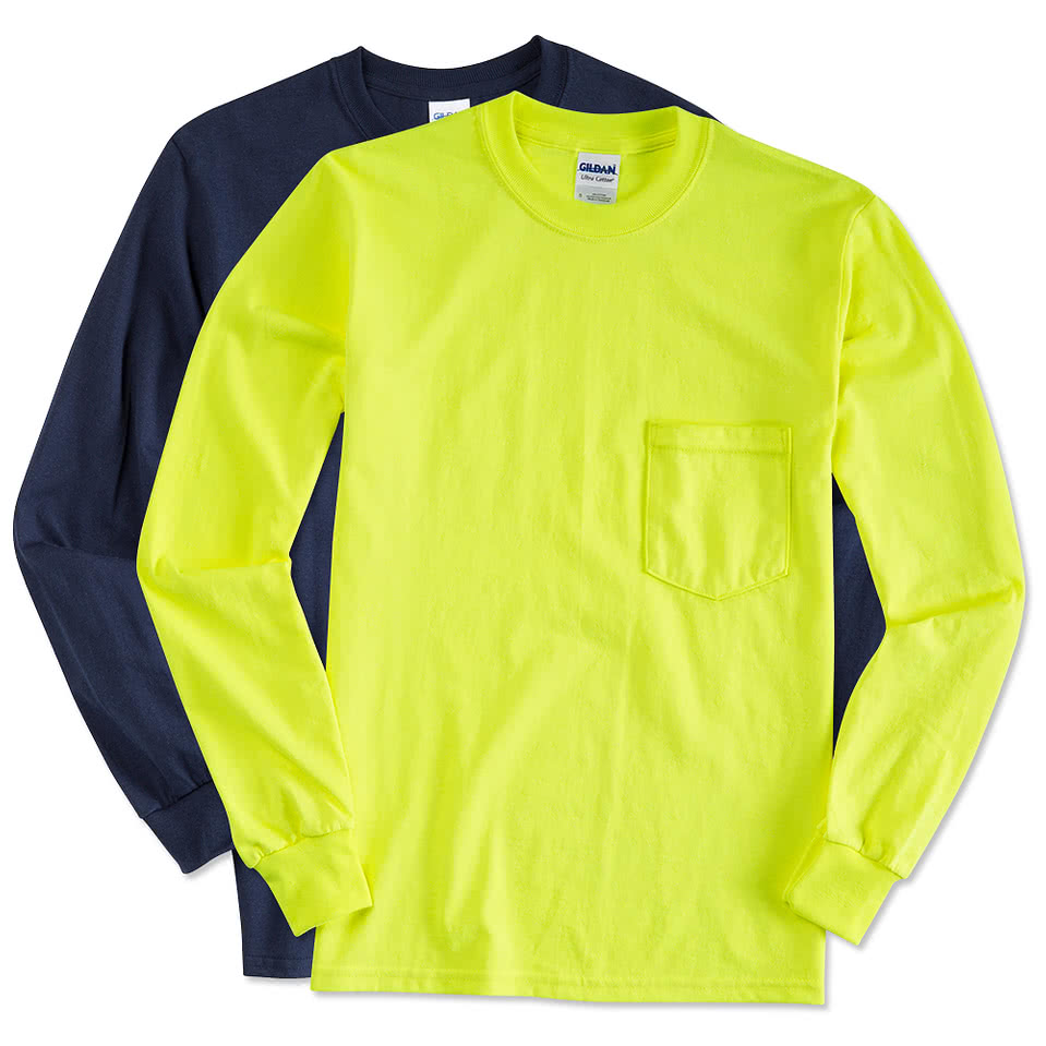 Design t shirt gildan - Gildan Ultra Cotton Long Sleeve Pocket T Shirt