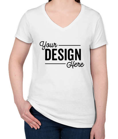 Gildan Women's 100% Cotton V-Neck T-shirt - White