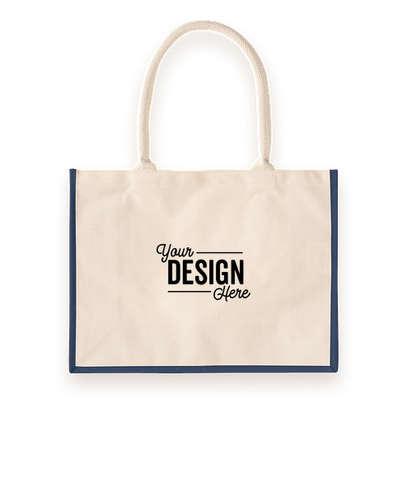 Cotton Landscape Shopper Tote Bag - Natural / Navy