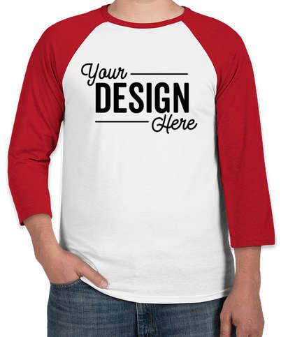 Canada - Bella + Canvas Lightweight Raglan T-shirt - White / Red