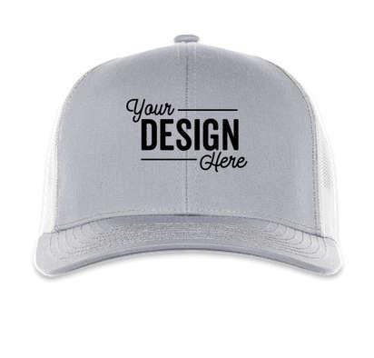 Pacific Headwear Contrast Stitch Snapback Trucker Hat - Heather Grey / White / Heather Grey