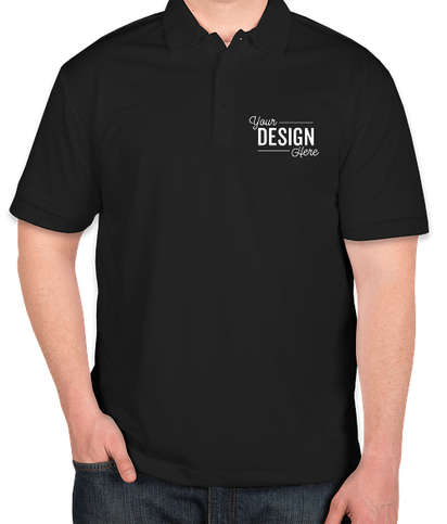 Port Authority Tall Silk Touch Performance Polo - Screen Printed - Black