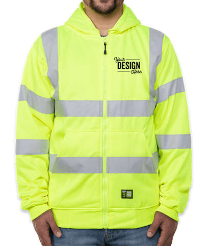 Berne Hi-Vis Class 3 Lined Full-Zip Hooded Sweatshirt - Hi Vis Yellow