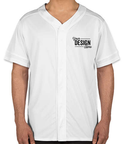 Augusta Slugger Full Button Baseball Jersey - White / White