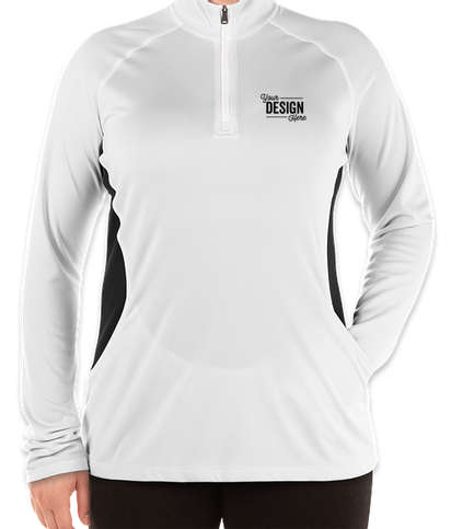 Adidas Women's 100% Recycled Quarter Zip Performance Shirt - White / Carbon