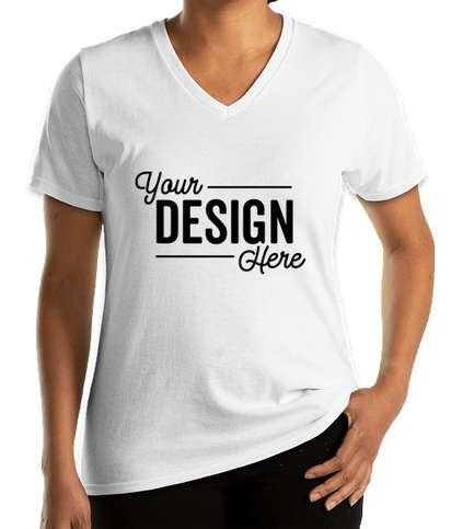 Port & Company Women's Core Cotton V-Neck T-shirt - White