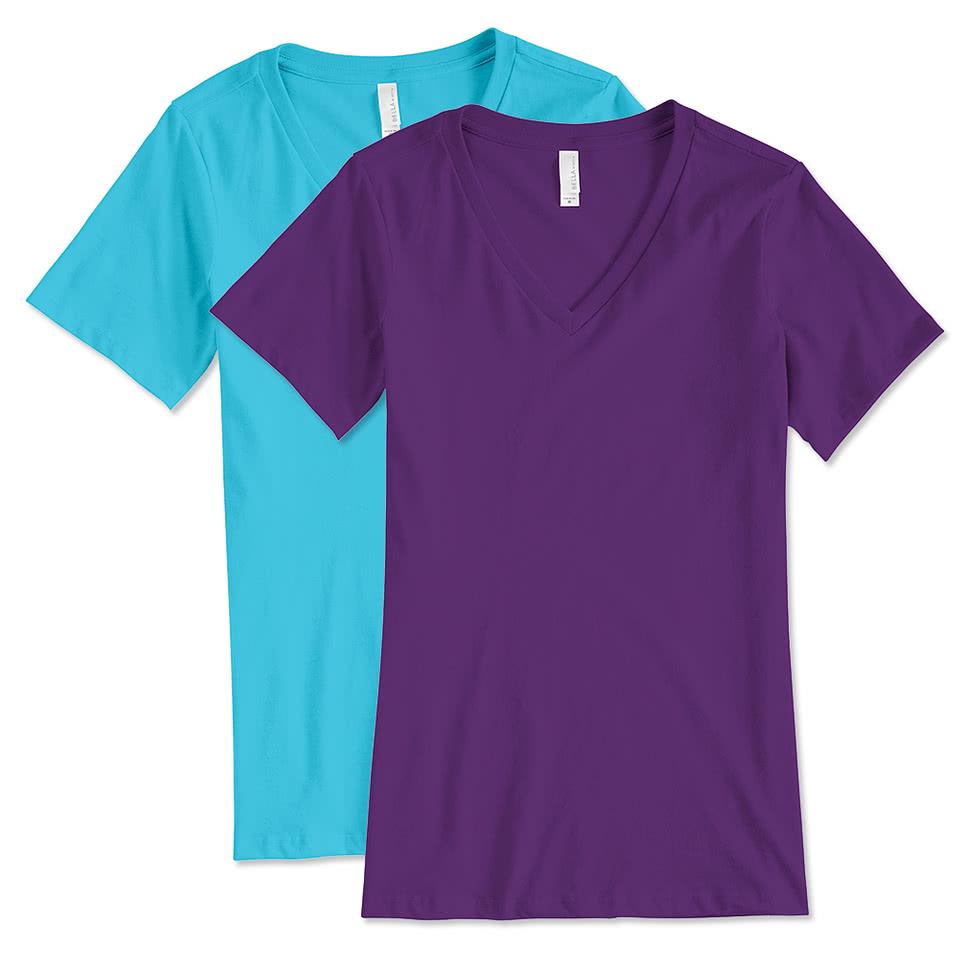 Custom Bella Ladies V Neck T Shirt Design Ladies Short