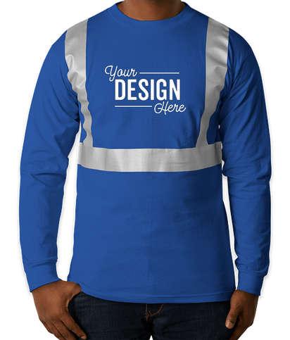 Bayside USA-Made Reflective 100% Cotton Long Sleeve T-shirt - Royal
