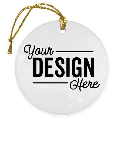 Full Color Round Ceramic Ornament - White with Gold Cord
