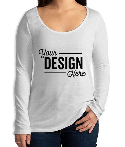Delta Platinum Women's Slim Fit Cotton Blend Long Sleeve T-shirt - White